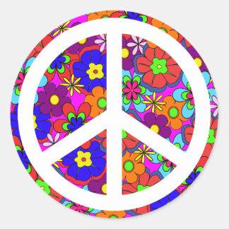 Peace Sign Hippy Retro Flowers Sticker