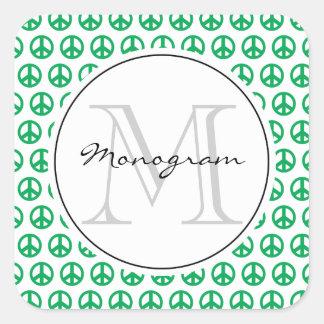 Peace sign monogram template square sticker