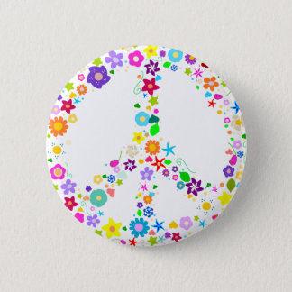 Peace sign of Flowers 6 Cm Round Badge