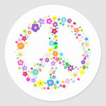 Peace sign of Flowers Round Sticker