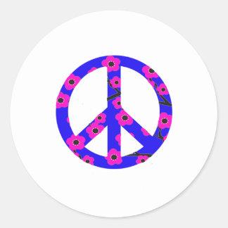 Peace Sign Pink Cherry Blossom Round Sticker