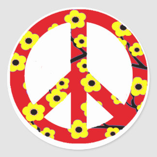 Peace Sign Red Yellow Cherry Blossom Sticker