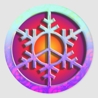 Peace Sign Snowflake Stickers