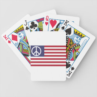 Peace Sign Symbol US Stars & Stripes American Flag Bicycle Playing Cards