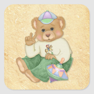 Peace Sign Teddy Bear Square Stickers