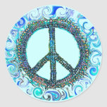 Peace Sign With Blue Waves Round Sticker