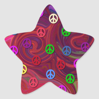 Peace Signs on Colorful Swirl Stickers