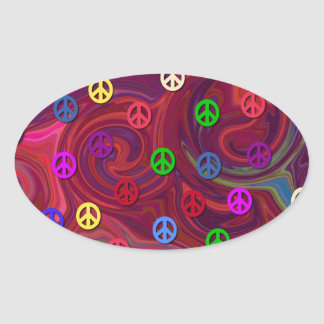 Peace Signs on Colorful Swirl Oval Stickers