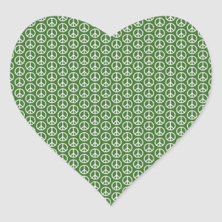 Peace Signs on Holiday Pine Green Heart Sticker