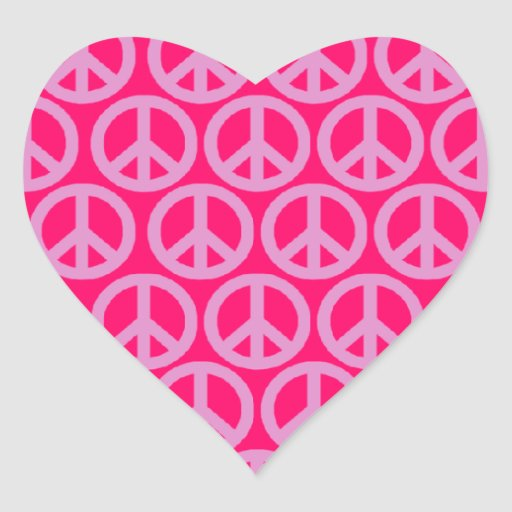 Peace Signs Heart Stickers