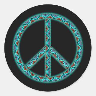 Peace Southwest Blk2 Classic Round Sticker