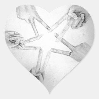 Peace Star Heart Sticker