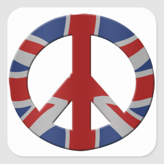 Peace symbol and Union Jack Square Sticker