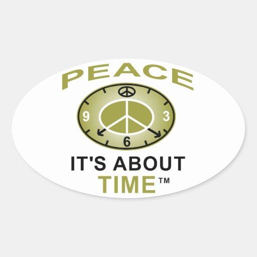 PEACE SYMBOL CLOCK Oval Sticker