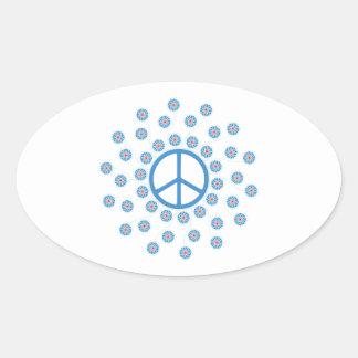 Peace Symbol Flowers Oval Sticker