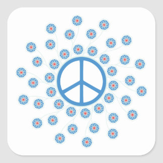 Peace Symbol Flowers Square Sticker