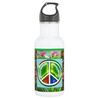 PEACE SYMBOL :  Green Artistic Flowers 532 Ml Water Bottle