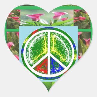 PEACE SYMBOL Green Artistic Flowers Sticker