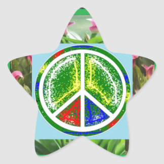 PEACE SYMBOL :  Green Artistic Flowers Star Stickers