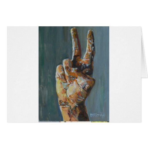 Peace symbol hand greeting card