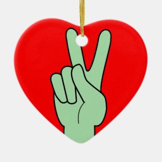 Peace Symbol Hand Ceramic Heart Decoration