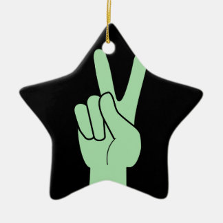 Peace Symbol Hand Ceramic Star Decoration