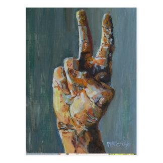 Peace symbol hand postcard