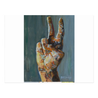 Peace symbol hand post card