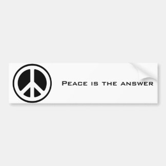 peace symbol, Peace is the answer Bumper Sticker