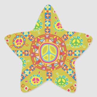 Peace Symbols Design Star Sticker