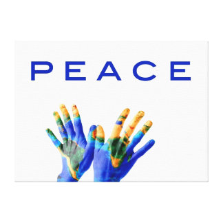Peace template, hands with earth painted on canvas print