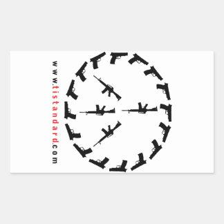 Peace Through Strength Rectangular Sticker