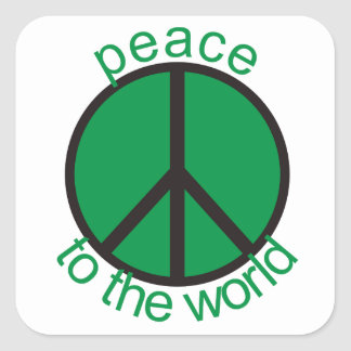 Peace to the world square sticker