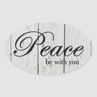Peace White Wood Holiday Greeting Oval Sticker