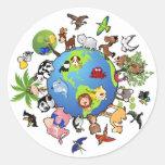 Peaceful Animal Kingdom - Animals Around the World Round Sticker