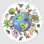 Peaceful Animal Kingdom - Animals Around the World Classic Round Sticker