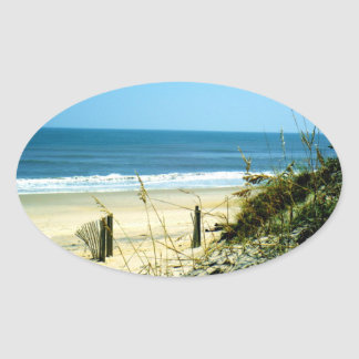 Peaceful Day At The Beach Oval Sticker