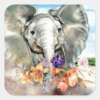 Peaceful Elephant Square Sticker