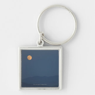 Peaceful Hillside Silver-Colored Square Key Ring