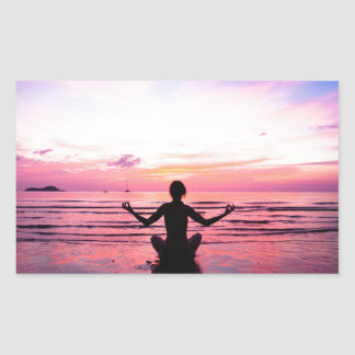 peaceful lady at sunset rectangular sticker