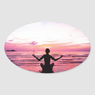 peaceful lady at sunset oval stickers