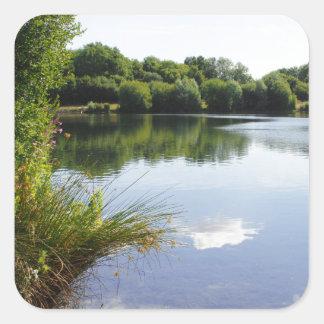 Peaceful lake square sticker