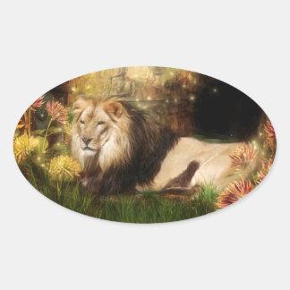 Peaceful lion oval sticker