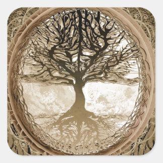 Peaceful Living Tree Square Sticker