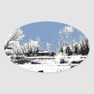 Peaceful Meadow with Cows and Blue Sky Sticker