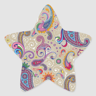 Peaceful Paisley Star Sticker