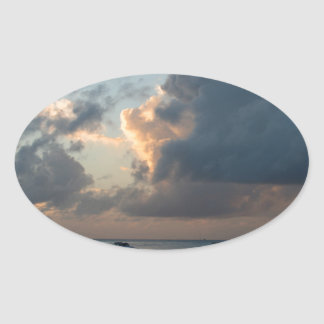 Peaceful Seashore Oval Sticker
