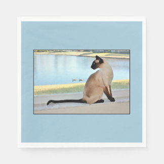 Peaceful Siamese Cat Painting Disposable Napkins