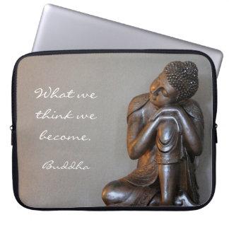 Peaceful silver Buddha Laptop Sleeves