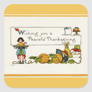 Peaceful Thanksgiving Square Stickers
